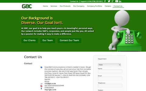 Screenshot of Contact Page gbc.co.ke - GreenBell Communications Limited | Enhancing Business through ICT Web solutions - captured Oct. 3, 2014
