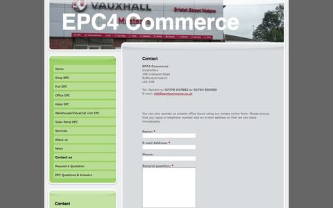 Screenshot of Contact Page epc4commerce.co.uk - Commercial energy performance certificates EPCs for shops, offices, hotels, warehouses, Industrial units - captured Dec. 6, 2015