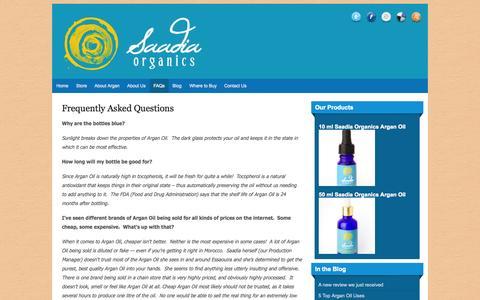 Screenshot of FAQ Page saadiaorganics.com - FAQ Saadia Organics Argan Oil   Saadia Organics Argan Oil   100% Pure, Authentic, Eco-Friendly and Ethical Argan - captured Sept. 18, 2014