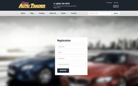 Screenshot of Signup Page triniautotrader.com - Nothing Found For  Auth Registration - captured Dec. 17, 2016