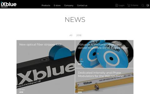 Screenshot of Press Page ixblue.com - News | Photonics - captured Dec. 10, 2018