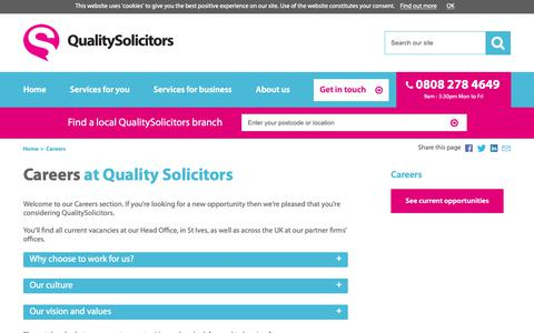 Screenshot of Jobs Page qualitysolicitors.com - Careers at QualitySolicitors - captured Dec. 7, 2018