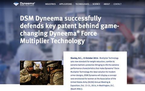 Screenshot of Press Page dsm.com - DSM Dyneema to display military concept vest for women | 2014 | Dyneema® - captured July 14, 2018