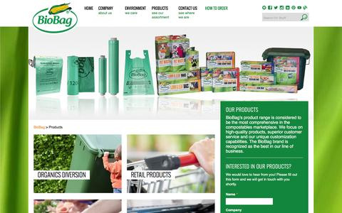 Screenshot of Products Page biobagusa.com - BioBag • Widest Range of Compostable Products in the World - captured Jan. 16, 2016