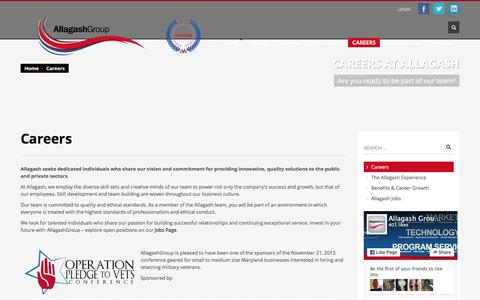 Screenshot of Jobs Page allagashgroup.com - Careers - Allagash Group - captured Feb. 5, 2016