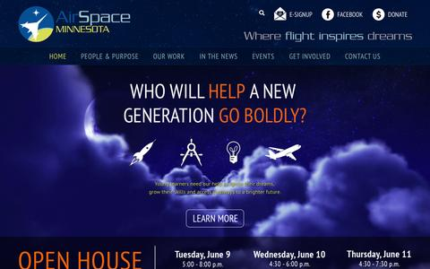 Screenshot of Home Page airspacemn.org - AirSpace Minnesota | Hands-on STEM Education | Aerospace Innovators | Minnesota - captured July 15, 2015