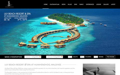 Screenshot of Home Page lilybeachmaldives.com - Maldives Resorts - Lily Beach offers 5 star platinum all inclusive - captured Aug. 4, 2015