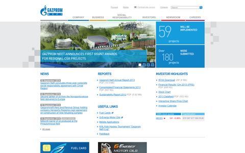 Screenshot of Home Page gazprom-neft.com - JSC Gazprom Neft - captured Sept. 23, 2014