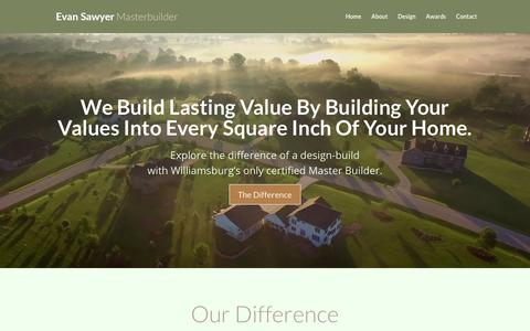 Screenshot of Home Page buildwilliamsburg.com - Master Builder | Lasting Values Into Every Home - captured Aug. 25, 2017