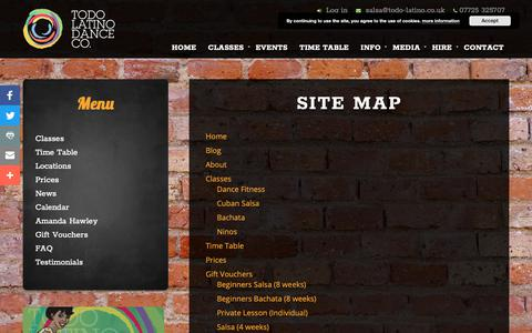 Screenshot of Site Map Page todo-latino.co.uk - Site Map | Todo Latino Dance Co. - captured Oct. 19, 2018