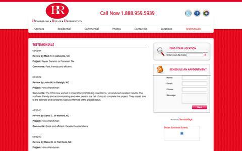 Screenshot of Testimonials Page handymanhr3.com - Testimonials | Handyman - Repairs - Remodeling - RestorationsHandyman – Repairs – Remodeling – Restorations - captured Oct. 1, 2014