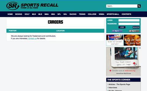 Screenshot of Jobs Page sportsrecall.com - CAREERS - captured Sept. 30, 2014