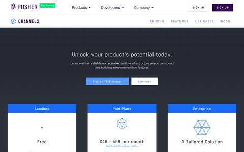 Screenshot of Pricing Page pusher.com - Pricing | Pusher - captured June 20, 2018