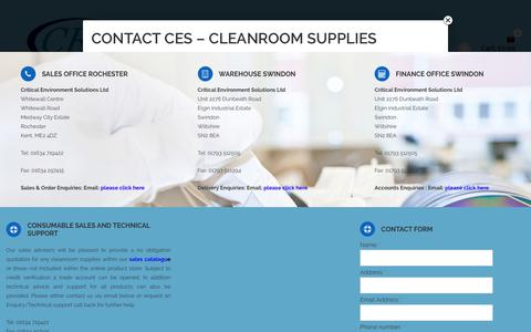 Screenshot of Contact Page criticalenvironmentsolutions.co.uk - Cleanroom Products and Supplies - captured Sept. 15, 2017