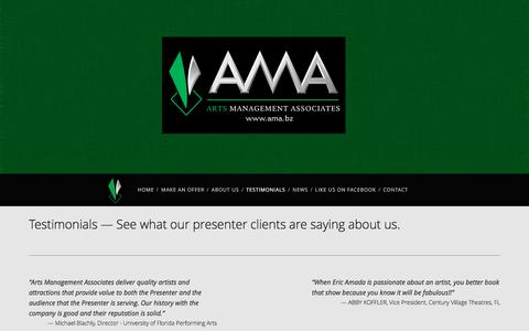 Screenshot of Testimonials Page ama.bz - TESTIMONIALS — Arts Management Associates - captured April 11, 2017