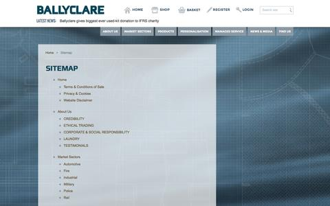 Screenshot of Site Map Page ballyclarelimited.com - Ballyclare Limited - captured Sept. 30, 2014