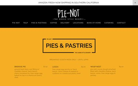 Screenshot of Menu Page pienot.com - Pies & Pastries — Pie-Not - The Aussie Style Bakery - captured Jan. 1, 2018