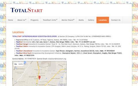 Screenshot of Locations Page totalstart.org - TOTALSTART ENTREPRENEURSHIP ECOSYSTEM DEVELOPERS - captured Feb. 24, 2016