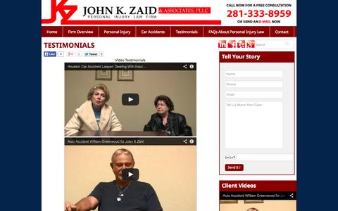 Screenshot of Testimonials Page zaidlaw.com - Testimonials | Houston Injury Lawyer | John K. Zaid - captured Nov. 3, 2014