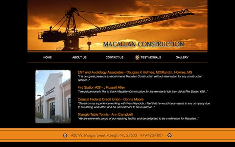 Screenshot of Testimonials Page mc1.biz - macallan-construct | TESTIMONIALS - captured Nov. 18, 2016