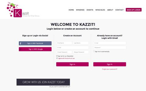 Screenshot of Login Page kazzit.com - Kazzit - US Winery Guide - International Winery Guide - captured Jan. 9, 2016