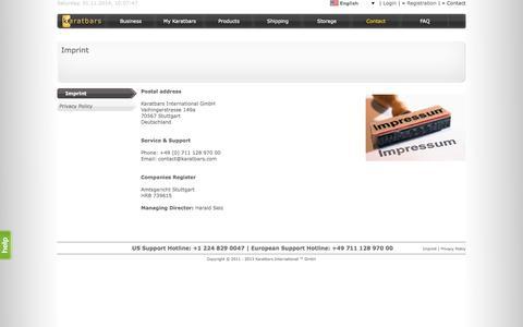 Screenshot of Contact Page karatbars.com - Gold - Karatbars International - captured Nov. 1, 2014