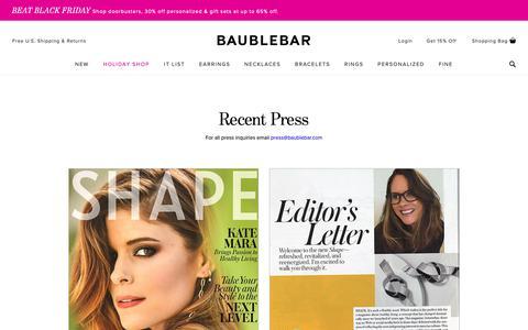 Screenshot of Press Page baublebar.com - Press | BaubleBar - captured Nov. 12, 2018