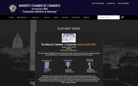 Screenshot of Home Page minoritychamber.net - Minority Chamber of Commerce | Washington, D.C. | Miami - captured Jan. 26, 2015