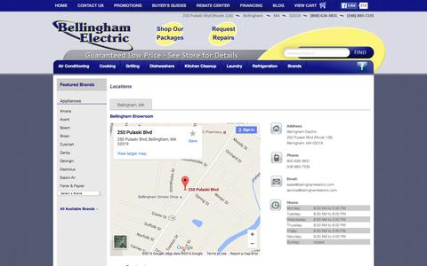 Screenshot of Contact Page Locations Page bellinghamelectric.com - Contact Bellingham Electric in Massachusetts - captured June 22, 2016