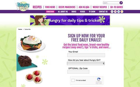 Screenshot of Signup Page hungry-girl.com - Hungry Girl - captured Nov. 15, 2016