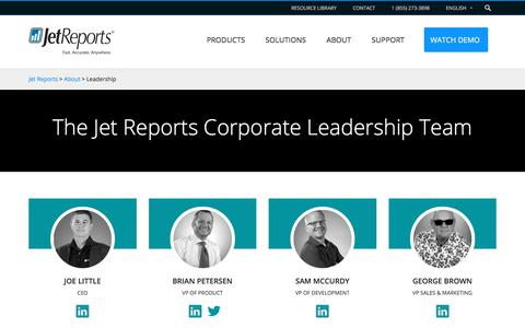 Screenshot of Team Page jetreports.com - Leadership - Jet Reports - captured Sept. 20, 2018