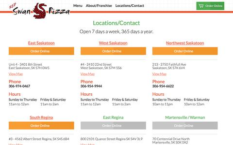 Screenshot of Menu Page swanpizza.com - Red Swan Pizza - Contact/Locations - captured Feb. 11, 2018