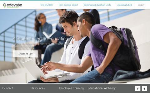 Screenshot of Home Page edevate.com - Edevate - captured July 11, 2014