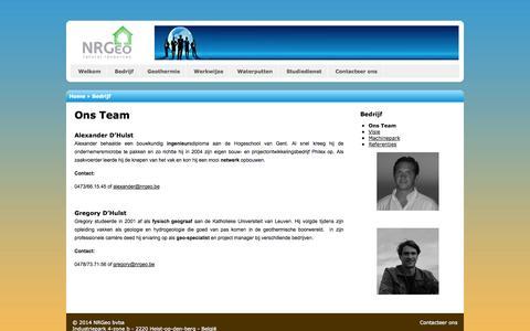 Screenshot of Team Page nrgeo.be - Ons Team   NRGeo - captured Oct. 26, 2014