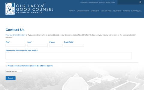 Screenshot of Contact Page olgcva.org - Contact Us - Our Lady of Good Counsel Catholic  Church - captured Oct. 18, 2018