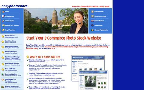 Screenshot of Home Page easyphotostore.com - Welcome to EasyPhotoStore.com - Start Your E-Commerce Photo Stock Website - captured Sept. 19, 2015