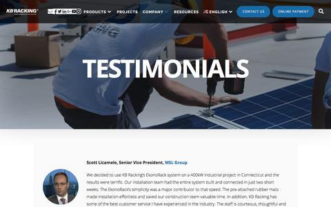 Screenshot of Testimonials Page kbracking.com - Testimonials | KB Racking - captured Sept. 20, 2018