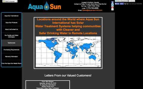 Screenshot of Testimonials Page aqua-sun-intl.com - Testimonials - captured Oct. 4, 2014