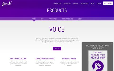 Screenshot of Products Page sinch.com - Voice API & SDK | VoIP Calling In Your Apps | Sinch - captured Oct. 3, 2015