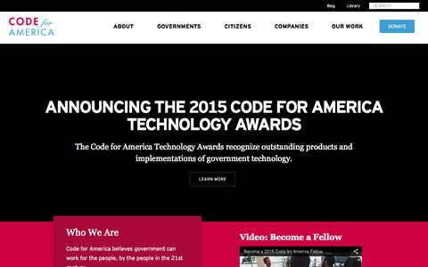 Screenshot of Home Page codeforamerica.org - Code for America - captured July 8, 2015