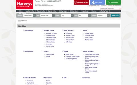 Screenshot of Site Map Page harveysfurniture.co.uk - Sitemap | Harveys - captured Sept. 19, 2014
