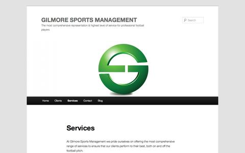 Screenshot of Services Page gilmoresportsmanagement.com - Gilmore Sports Management – Services   GILMORE SPORTS MANAGEMENT - captured Sept. 30, 2014