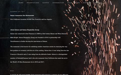 Screenshot of Press Page saisonsf.com - News — Saison - captured Sept. 24, 2018