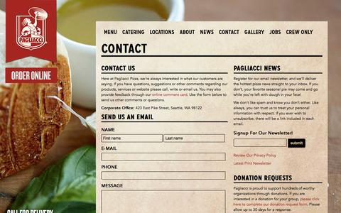 Screenshot of Contact Page pagliacci.com - Contact | Pagliacci Pizza - captured Sept. 26, 2018