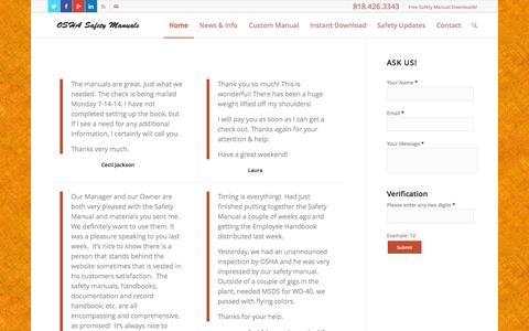 Screenshot of Testimonials Page oshasafetymanuals.com - Testimonials | OSHA Safety Manuals - captured Oct. 7, 2014