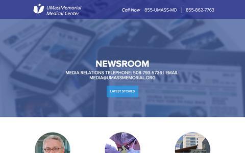 Screenshot of Press Page umassmemorialhealthcare.org - Newsroom - UMass Memorial Medical Center - UMass Memorial Health Care - captured Sept. 22, 2018