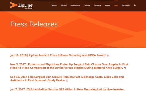 Screenshot of Press Page ziplinemedical.com - Press Releases | Zipline Medical, Inc - captured Oct. 19, 2018
