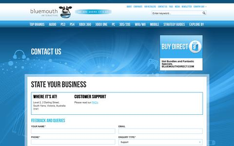 Screenshot of Contact Page bluemouth.com - Contact Us - captured Oct. 5, 2014