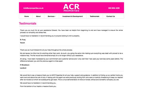 Screenshot of acrproperties.co.uk - Testimonials «  acrproperties - captured Aug. 5, 2015