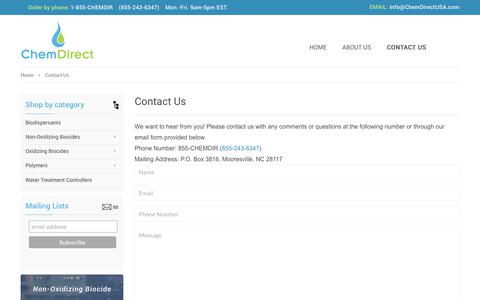 Screenshot of Contact Page chemdirectusa.com - Contact Us – ChemDirect - captured July 28, 2017